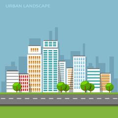 Vector flat illustration of city urban landscape.
