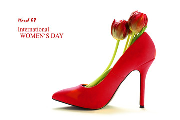 Women's day, Ladies red high heel shoe with tulips inside, isolated on white,