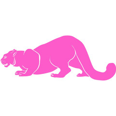 pink puma with huge tusks