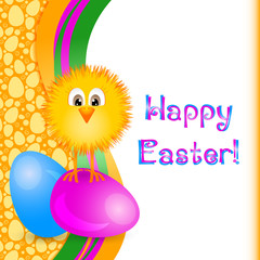Holiday card for Easter with painted eggs and little yellow chicken. Seamless egg pattern see in my portfolio