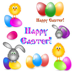 Set of paschal pictures as logotypes for greeting with Easter isolated on white with painted eggs, little yellow chicken and easter bunny in different versions