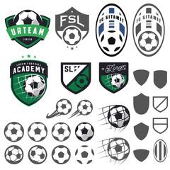 Set of football, soccer emblem design elements