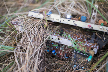 Electronic waste  on grass