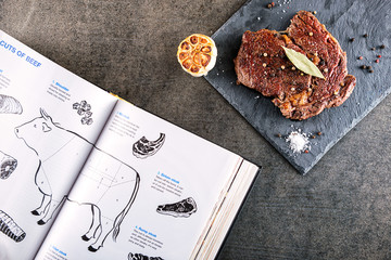 grilled beef steak fillet with ingredients like sea salt, pepper, onion and book on black board, food background for restaurant