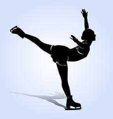 Vector silhouette figure skaters