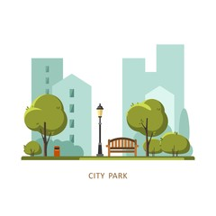 Public park in the City. Vector illustration.