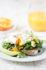 Toast and Poached Egg with Green Salad, Avocado and Peas