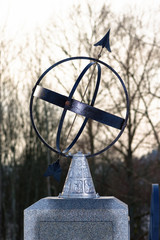 Closeup of a sundial during evening