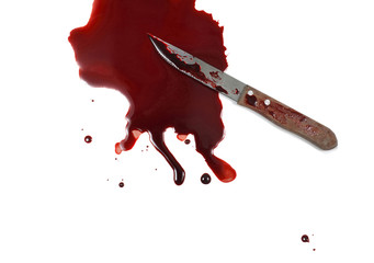 Kitchen Knife in a Pool of Blood on a White Background