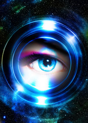 Woman eye and cosmic space, with light circle. blue color.
