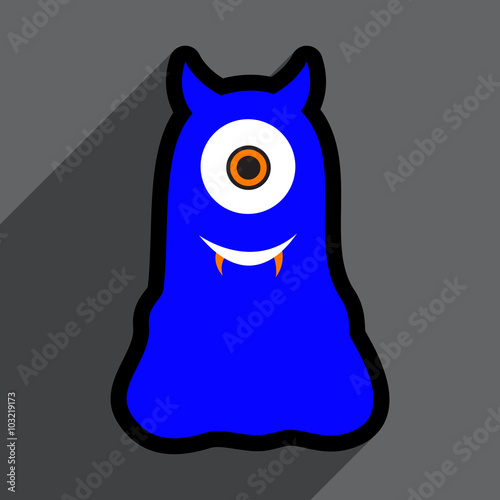 Flat with shadow Icon cyclops monster on the bright background