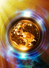 Planet Earth in light circle, Cosmic Space background. Computer collage. Earth concept. Planet earth in light rays. Elements of this image furnished by NASA.