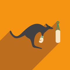 flat icon with long shadow kangaroo boxer