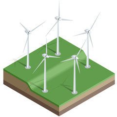 Flat 3d Vector isometric illustration. Wind turbines. Wind energy. Eco energy