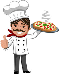 Smiling Chef serving italian pizza