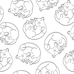 Seamless cute vector cats pattern