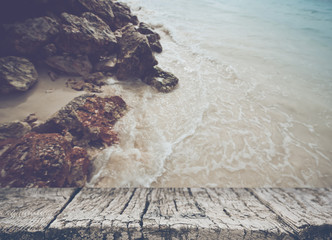 Blurred Ocean and Rocks with Instagram Style Filter