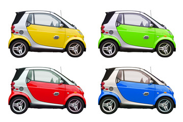 Colorful eco environmentally friendly smart cars isolated on a white background