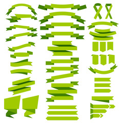 Set of vector collection of decorative design elements; green co