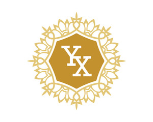 YX initial royal letter logo