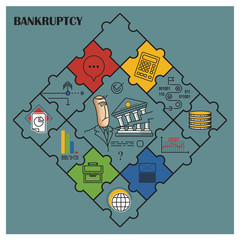 Stock illustration. Flat infographic. Bankruptcy and debt