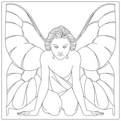 Vector stock. Girl with butterfly wings. Flat line