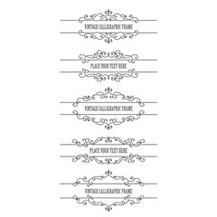 Vintage frames and borders set isolated on white. Calligraphic design elements.