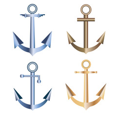Set of nautical labels, icons and design elements, anchor symbols set vector illustration
