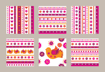 Set of seamless spring patterns. Flowers, birds and hearts. Wrapping paper, cloth. Vector illustration.