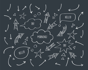 Set of different arrows and speech bubbles. Hand drawn with chalk on the black chalkboard. Doodles, sketch design elements for your design. Vector.