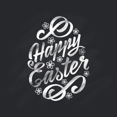 Happy Easter greeting Card, hand-drawing Lettering on chalk board background. Typography Inscription