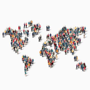 group  people  shape  world map