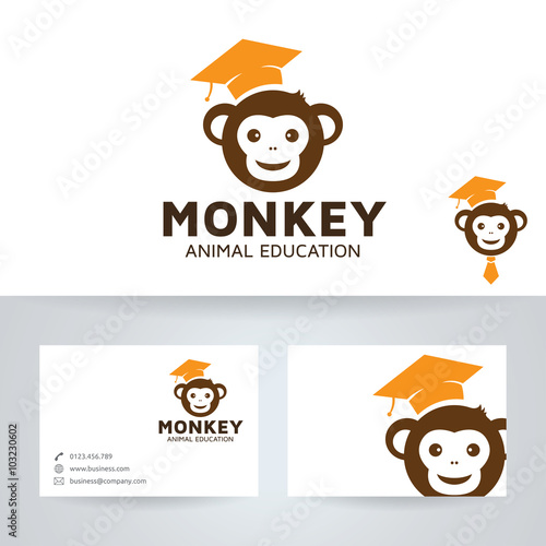 Monkey education vector logo with business card template stock monkey education vector logo with business card template reheart Choice Image