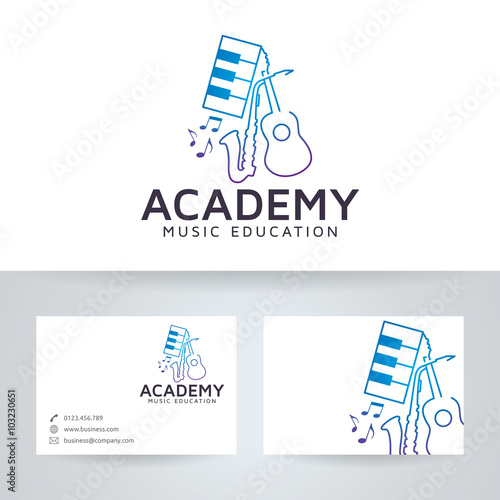 Music academy vector logo with business card template stock image music academy vector logo with business card template cheaphphosting Image collections
