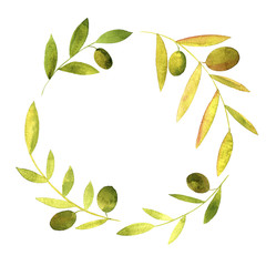 round wreath with watercolor green leaves and olives