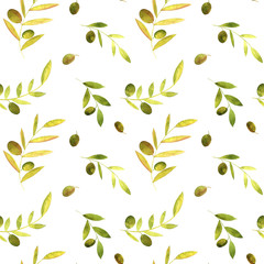 watercolor seamless pattern with olives, leaves and branches