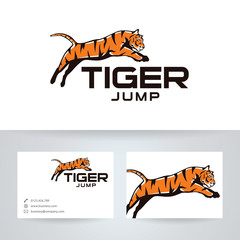 Tiger jump vector logo with business card template