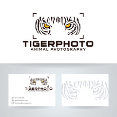 Tiger photo vector logo with business card template