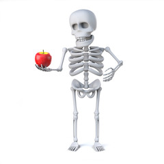 3d Skeleton has brought an apple for teacher