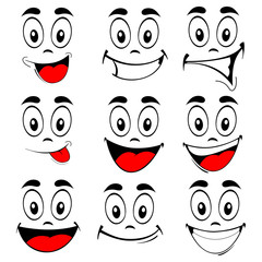 Vector of set smiling faces