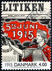Postage stamp Denmark 2000 Allegory of Women Suffrage