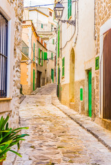 Wall Mural - Alleyway with old paving stones of an mediterranean village