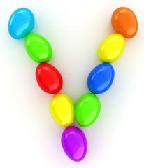 "Alphabet from colorful eggs. Letter ""V"""