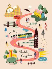 Fototapeta United Kingdom travel map obraz