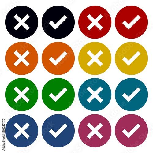 """Check mark and x circle icons set - Illustration"" Imagens ... X And Check Icon"