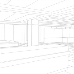 Interior office outlined. Tracing illustration of 3d