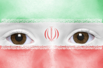 human's face with  iranian flag