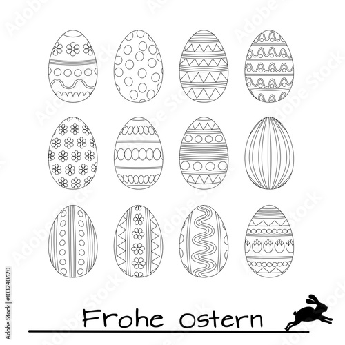 ostereier zum ausmalen vektor vorlage silhoette mandala zum ausmalen malvorlage easter eggs. Black Bedroom Furniture Sets. Home Design Ideas