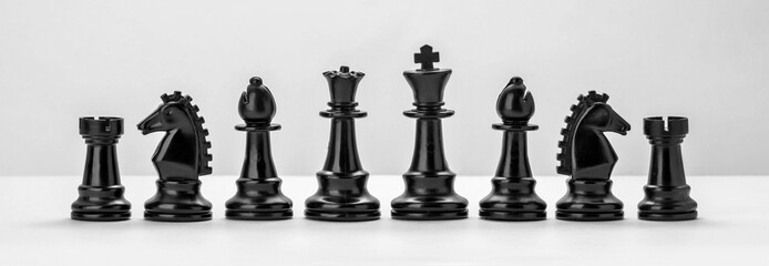 Black chess figures isolated on the white background. Set of chess figures.
