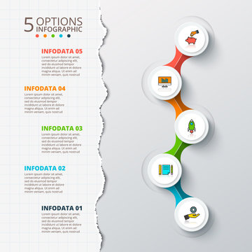 Vector cirlces for infographic with torn paper.
